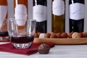 Bottles of wine and assorted chocolates